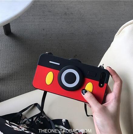 【SZ24】iphone xs max 手機殼 韓國創意可愛相機可調節掛繩矽膠軟殼 iPhone 6/7/8plus手機殼