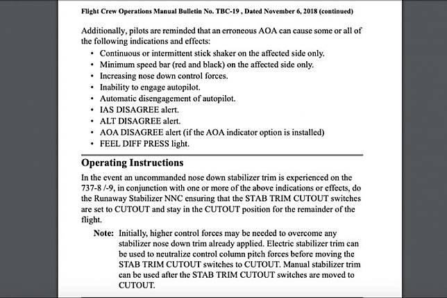 Instruksi operasional Boeing jika mengalami peristiwa Runaway Stabilizer saat terbang dengan 737 MAX.(Boeing)   Artikel ini telah tayang di Kompas.com dengan judul