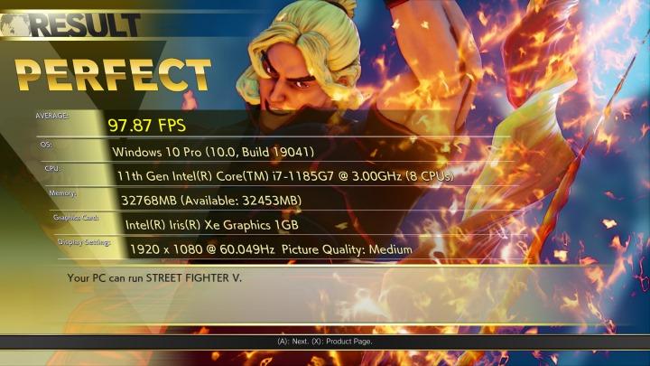 《快打旋風V》在Full HD解析度、中間畫質設定下,平均FPS為97.87幀。