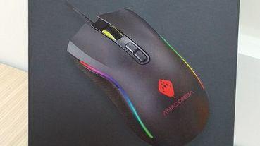 《3C開箱》巨蟒(ANACOMDA)電競滑鼠RM100(RGB)~會跳舞的滑鼠/6段DPI(1000~7200)