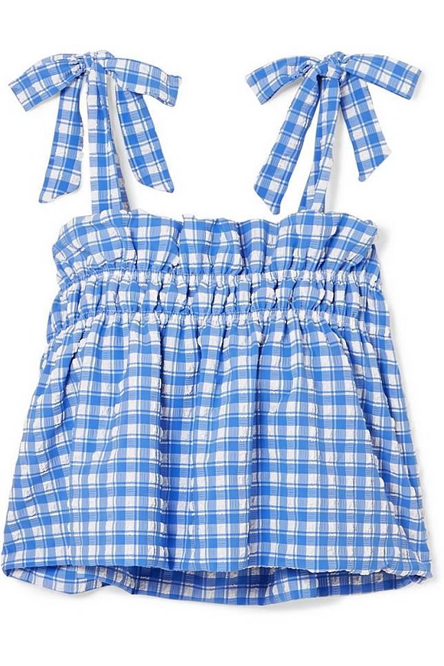 GANNI粉藍色格仔圖案吊帶上衣(互聯網)
