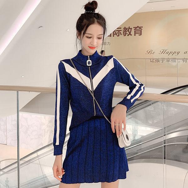 VK精品服飾 韓國風亮絲針織外套百褶裙套裝長袖裙裝