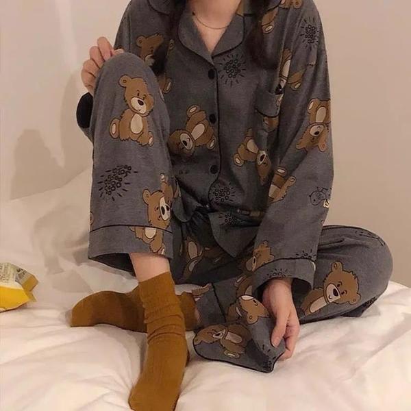 ins睡衣少女長袖春秋季2021韓版可愛小熊學生兩件套裝長褲家居服 【快速出貨】