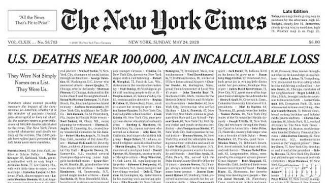 美近10萬人染疫亡 紐時頭版刊死者名單