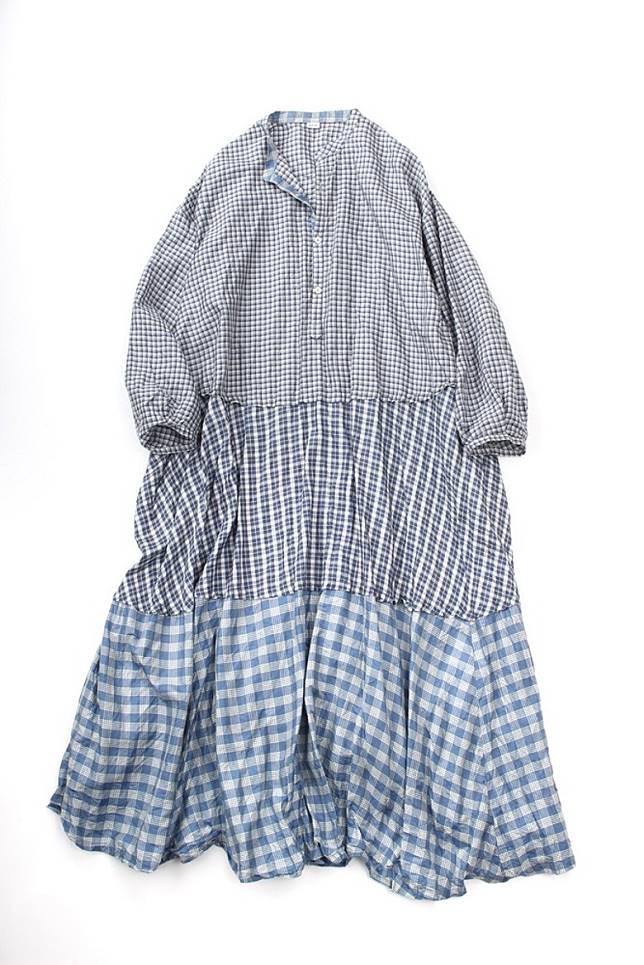 「 袱 」藍白色格仔Patchwork連身裙(互聯網)