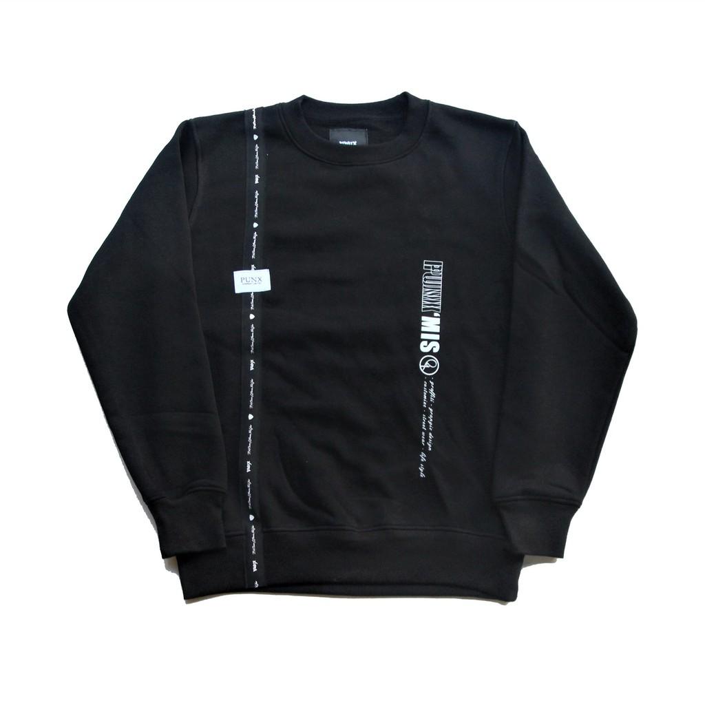 PUNX 20AW SPLICE CREWNECK / BLACK #2 - 全面料90%棉10%滌綸/480G碼重/內裏刷毛- 面料防縮水防毛球處理- 不織布品牌織標拼接- 前品牌印刷- 附不織布防