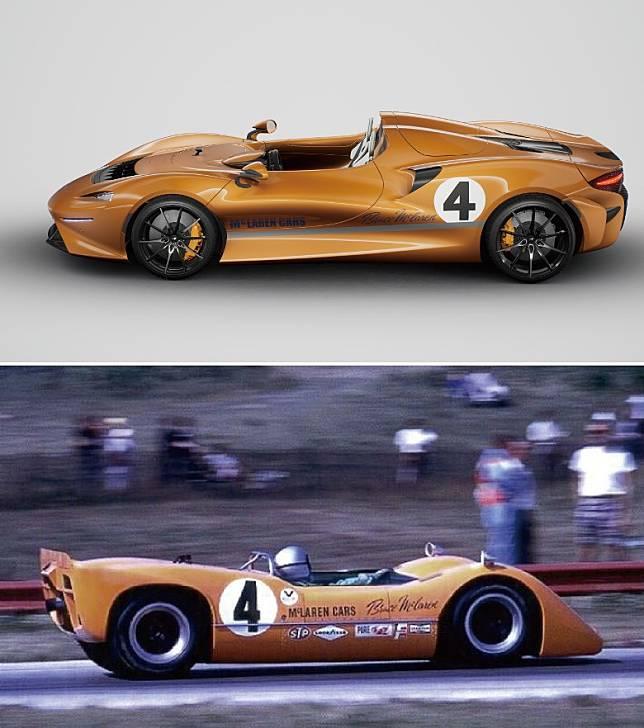 車側照樣可找到McLaren Cars拉花和Bruce簽名。(上圖):(2020) McLaren Elva M6A Theme by MSO;(下圖):(1967) McLaren M6A Can-Am(互聯網)