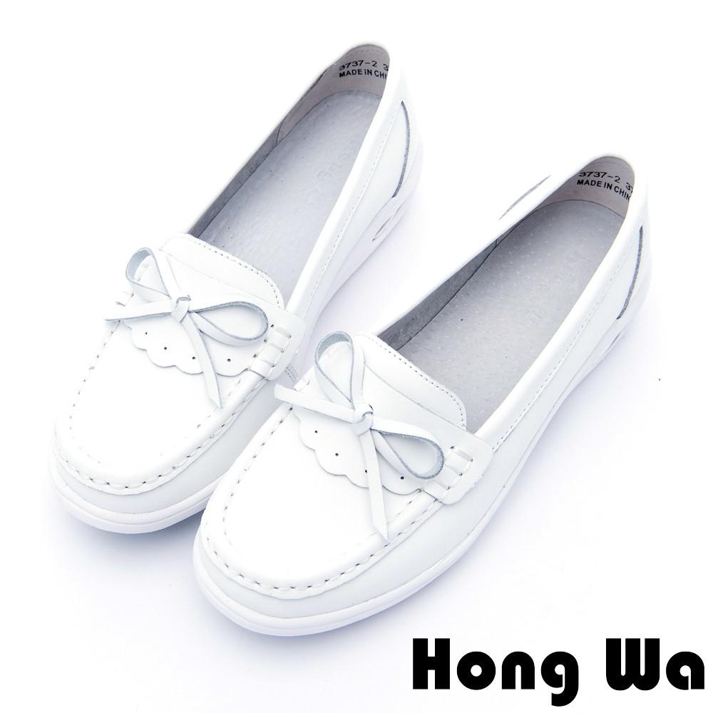 Hong Wa - 甜美蝴蝶結牛皮柔軟氣墊樂福鞋 - 白