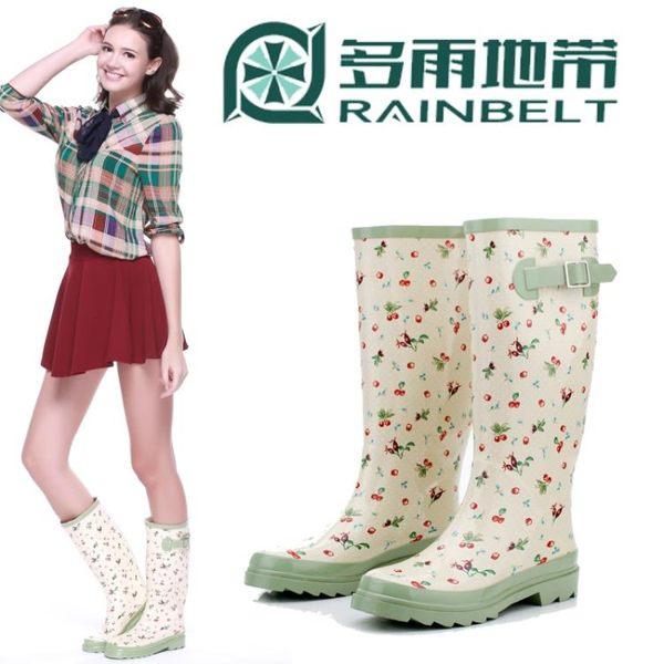 全館83折 時尚女式雨靴女士雨鞋高筒櫻桃甜美防水鞋套鞋全膠鞋毛絨保暖秋冬