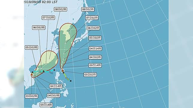 雙颱共舞,玲玲颱風外圍環流,今晚開始出現雨勢。圖/翻攝中央氣象局