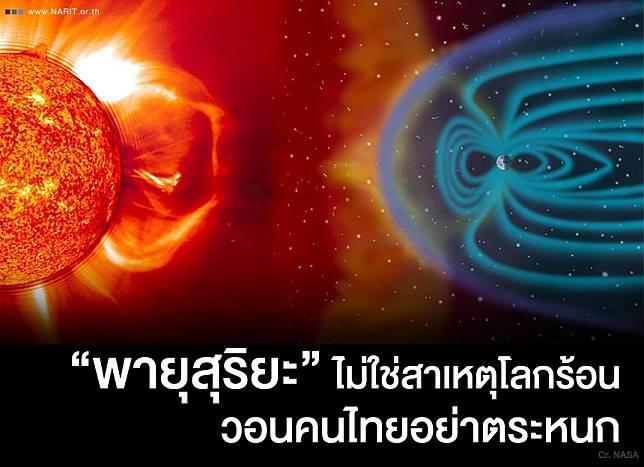 """สถาบันวิจัยดาราศาสตร์ ยัน """"พายุสุริยะ"""" ไม่ใช่สาเหตุโลกร้อน วอนคนไทยอย่าตระหนก"""