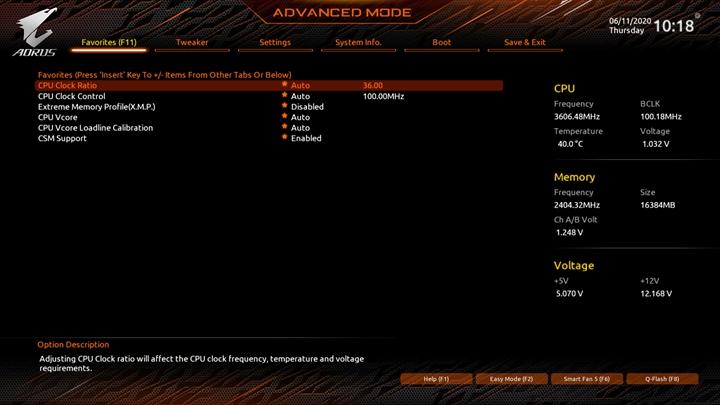 進階模式裡新增的「Favorites(F11)」分頁,已經內建一些常用的設定選項,玩家也可以在其它BIOS頁面中,對想要加入的設定選項按下Insert功能鍵,就可以將該選項加入Favorites(F11)分頁裡,利用Favorites(F11)分頁不但可以自訂個人化的設定頁面,也可以縮減層層頁面尋找的操作時間。