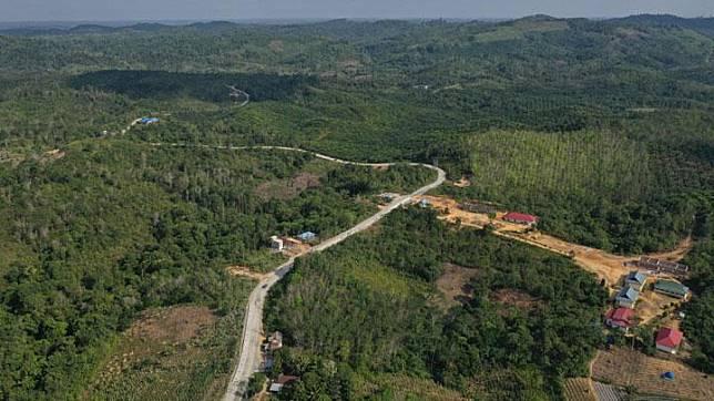 Foto aerial kawasan Kecamatan Sepaku, Penajam Paser Utara, Kalimantan Timur, Rabu, 28 Agustus 2019. Sepaku dan Samboja, Kutai Kartanegara akan menjadi lokasi ibu kota negara baru Indonesia. ANTARA