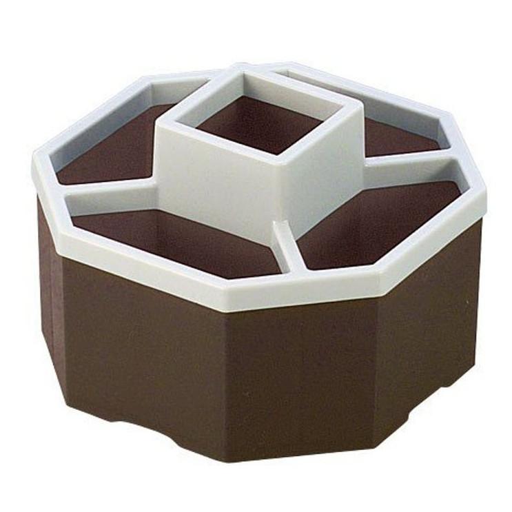 SANADA -9901 八角型多用途收納盒(遙控器、電話、眼鏡等) 4973430011822-咖啡