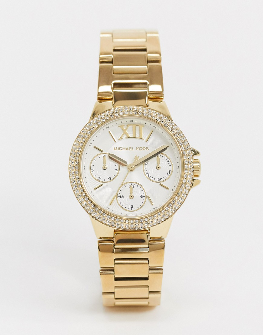Watch by Michael Kors Model number: MK6844 Bracelet strap Embellished bezel White dial with gold-ton
