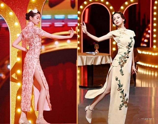 關曉彤(左)同Angelababy都分別以旗袍亮相綜藝節目。