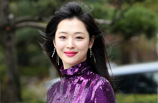 A member of the South Korean girl group f(x) Choi Jin-ri, also known by her stage name Sulli, is seen in this photo obtained October 16, 2019.