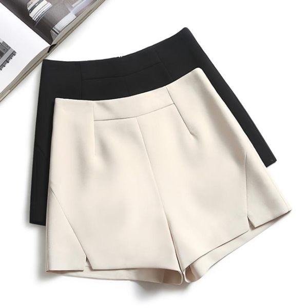 黑色短褲女夏2019新款高腰雪紡寬鬆韓版a字闊腿西裝百搭外穿顯瘦