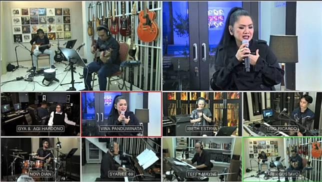 "Virtual virtuosa: Singer Vina Panduwinata (top right) performs her top hits during the ""Konser 7 Ruang"" online concert in Jakarta."