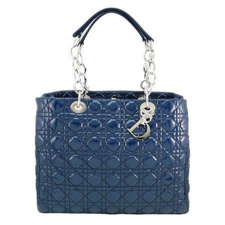 DIOR 經典Lady dior方型漆皮鏈帶購物包(藍)
