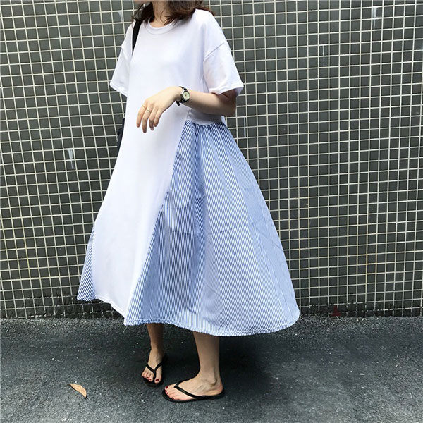 大裙擺 拼接 條紋 洋裝 短袖 長裙 連衣裙 連身裙 棉質 寬鬆 顯瘦 彈性 韓國 度假 NXS