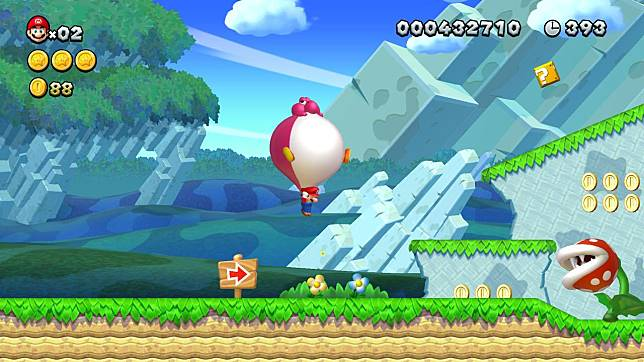 Baby Yoshi能變身成一個氣球,讓角色一下子飛到空中。
