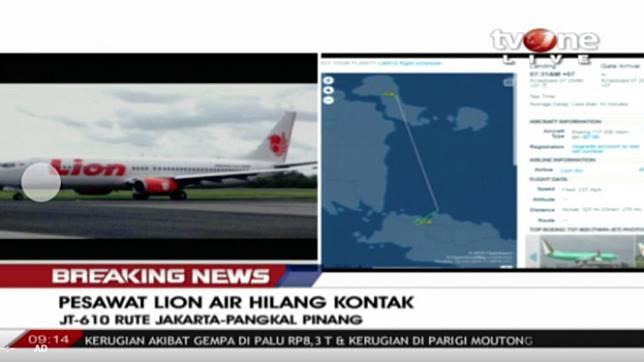 Pesawat Lion Air hilang kontak.