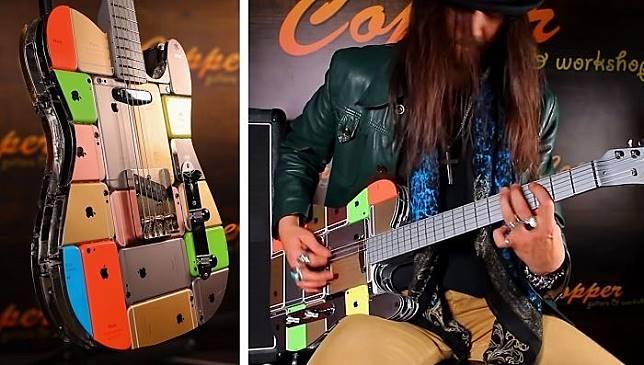 Gitar Art Mayer yang dibuat dari 107 iPhone dan iPod.