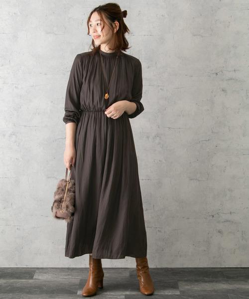 微高領束腰連身裙