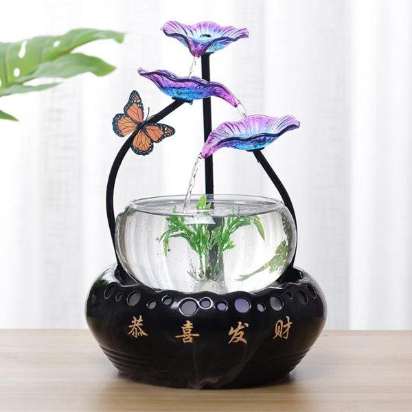 陶瓷循環流水魚缸擺件加濕器客廳家居電視櫃辦公室桌面噴泉裝飾品 MKS宜品