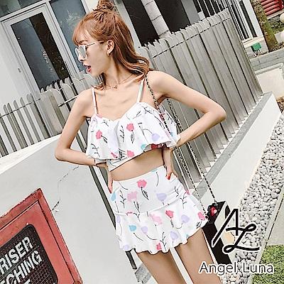 【AngelLuna日本泳裝】米白印花荷葉褲裙兩件式比基尼泳衣