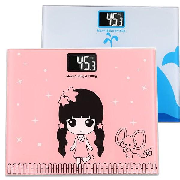 鋼化玻璃卡通電子體重計 背光螢幕人體秤 體重機 減肥健身【GG195】