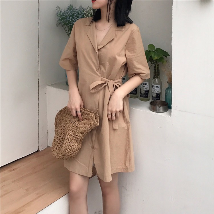 短袖洋裝 V領連身裙 連身洋裝 翻領洋裝 素色洋裝 短版洋裝 韓版素色氣質復古chic風系帶休閑排扣中長款襯衣連衣裙