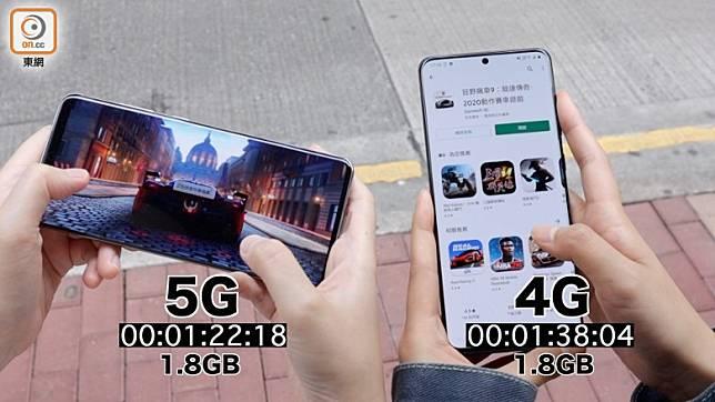 測試下載大型遊戲,4G、5G速度分野未算明顯。