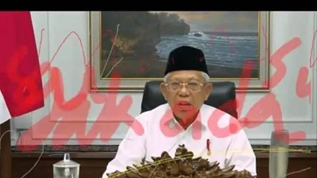 Gambar video Ma'ruf Amin dicoret tinta merah saat webinar.