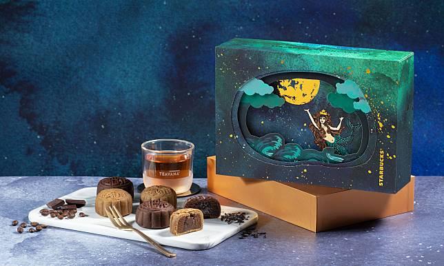 開啟盒上小燈,Starbucks禮盒立刻化成月亮燈盒。