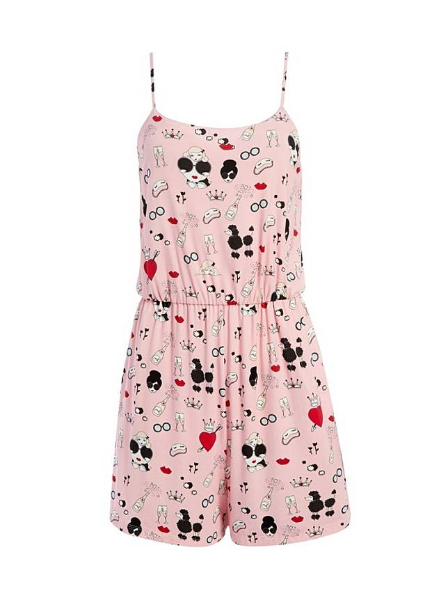 alice + olivia x Morgan Lane粉紅色圖案連身褲(互聯網)