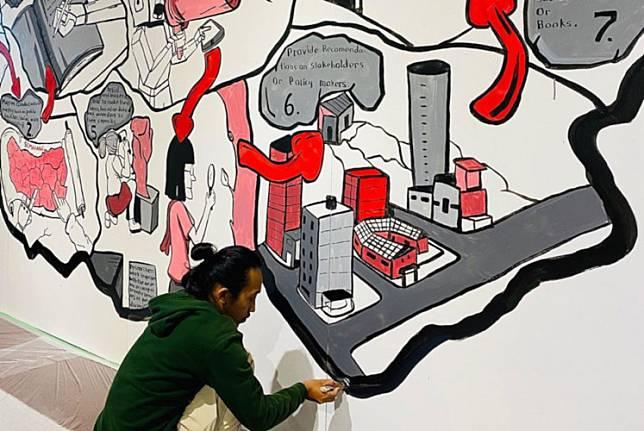 Humam Zidni Ahmad of Kolektif Hysteria works on 'Penta Klabs Methods' as part of the 2019 YouFab Global Creative Awards on Feb. 27 at SHIBUYA QWS in Tokyo, Japan.