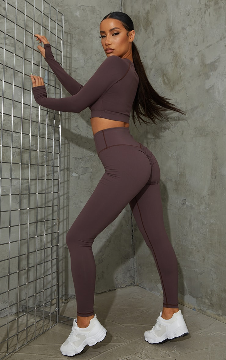 Chocolate Brushed Cotton Ruched Bum Gym Leggings nRefresh your workout gear with these new season le