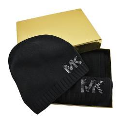 MICHAEL KORS 鉚釘LOGO圍巾/毛線帽禮盒組-黑色