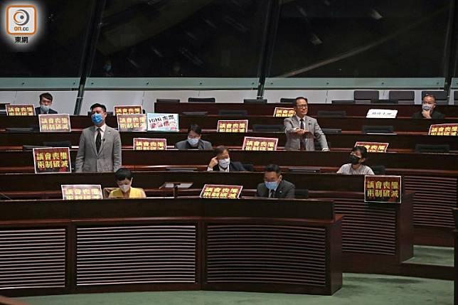 立法會繼續二讀辯論《國歌條例草案》,民主派多次阻延。(袁志豪攝)