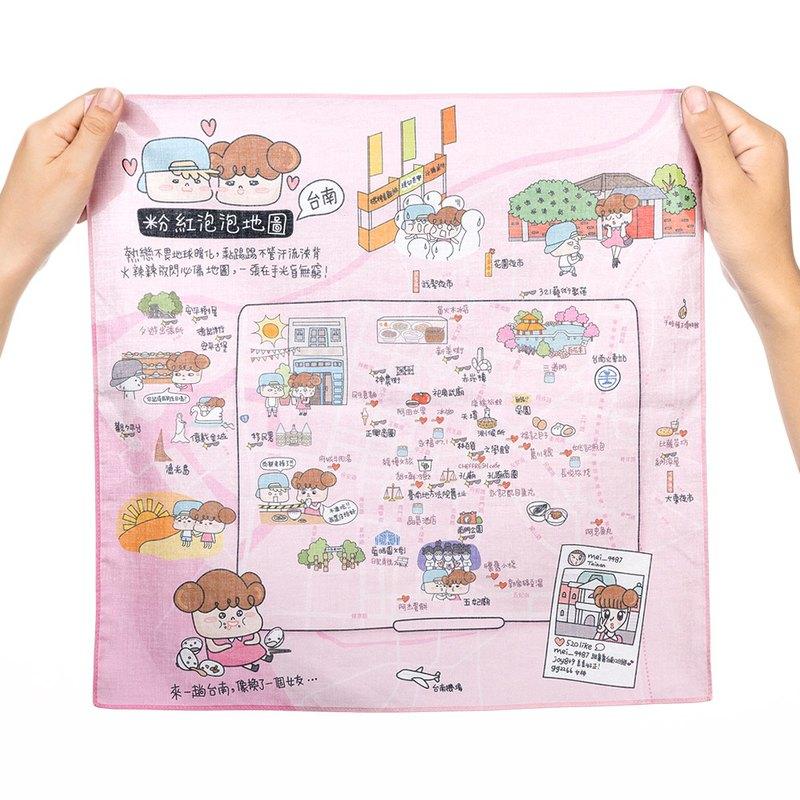 不只是地圖,同時也是手帕。收集在地人喜愛的台南美食景點、拍照打卡聖地,以及友善寵物餐廳。
