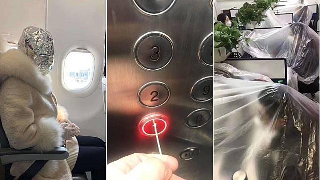 不讓武漢肺炎入侵!創意防疫奇招:牙籤按電梯、塑膠袋包全身和辦公桌?
