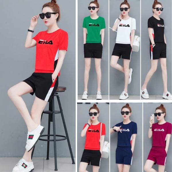 M-3XL韓版漸層字母EI短袖上衣+休閒短褲(兩件式運動套裝)6色-優美依戀