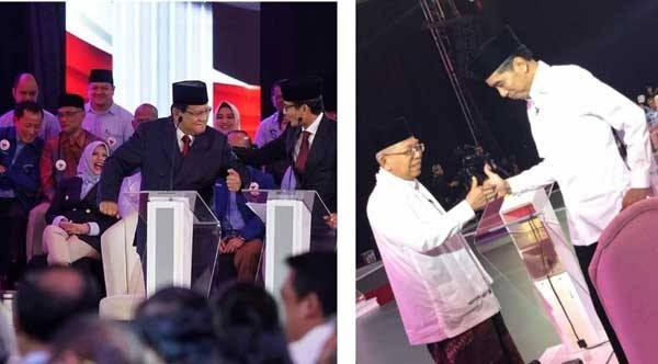 Pasangan Calon Presiden dan Calon Wakil Presiden Joko Widodo-Ma'ruf Amin (JKW-MA) dan Prabowo Subianto-Sandiaga Uno (PAS) saat debat Pilpres 1 2019.(ist)