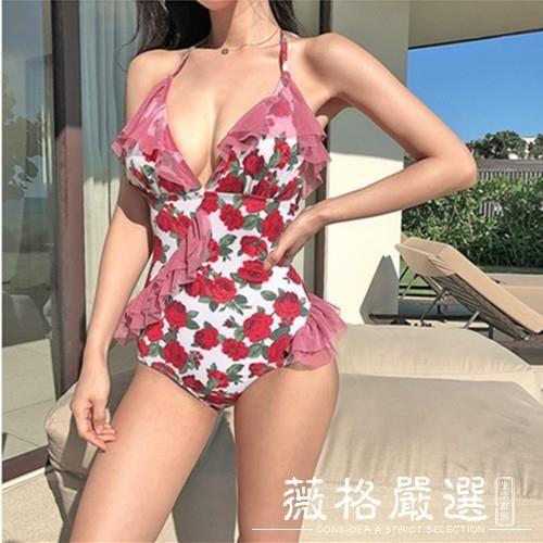 連體泳衣-韓版網紅定制新款俏皮小女人玫瑰花性感蕾絲荷葉邊沙灘連體泳衣女-薇格嚴選
