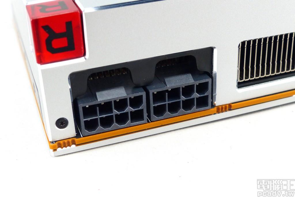 PCIe 輔助電源需要 2 個 8pin,表定 TDP 為 295W,承襲 Radeon RX Vega 64 建議使用 750W 以上的電源供應器