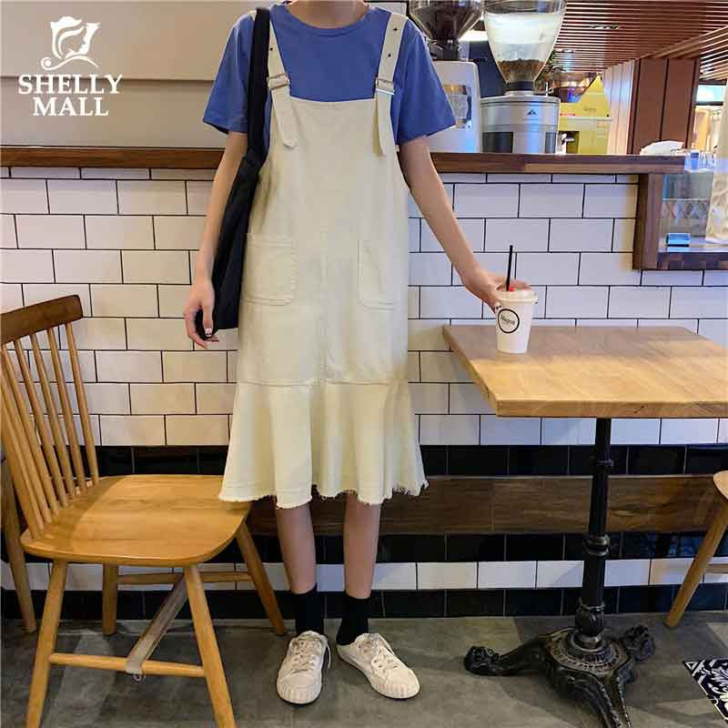 [優質現貨] 牛仔裙 牛仔背帶裙 套裝 連衣裙 韓系 學生顯瘦chic吊帶 素色T恤 百搭 休閑 女生衣著