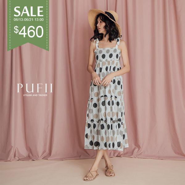 PUFII-洋裝 點點肩綁帶洋裝-0613 現+預 夏【CP16881】