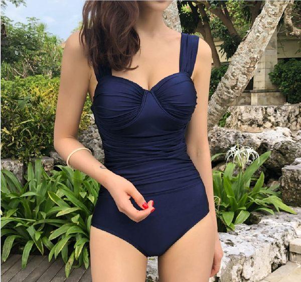 梨卡 - 氣質甜美[集中鋼圈+遮肚顯瘦]純色遮肚三角連身泳衣連身泳裝CR453